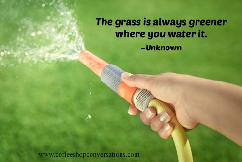 Inspiring happiness quotes: The grass is always greener where you water it.