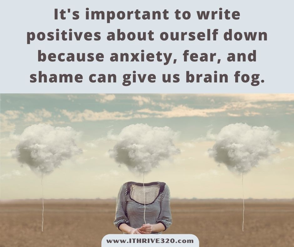 A quote about brain fog, positivity, and self-care