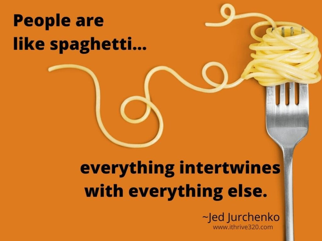 Happiness Quote: People are a lot like spaghetti, everything intertwines with everything else.
