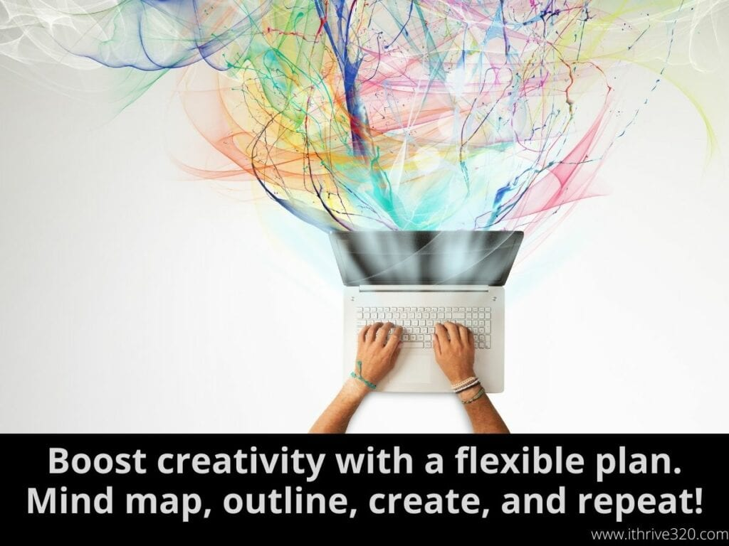 "A computer with lots of colors coming out of it to illustrate the action step ""Boost creativity with a flexible plan. Mind map, outline, create, and repeat!"""