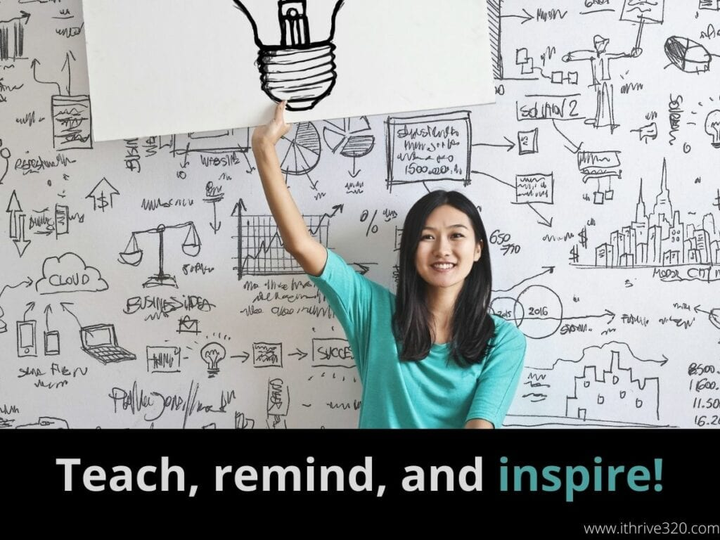 "A woman holding up an image of a lightbulb to illustrate the point ""To boost creativity, Teach, remind, and inspire!"""