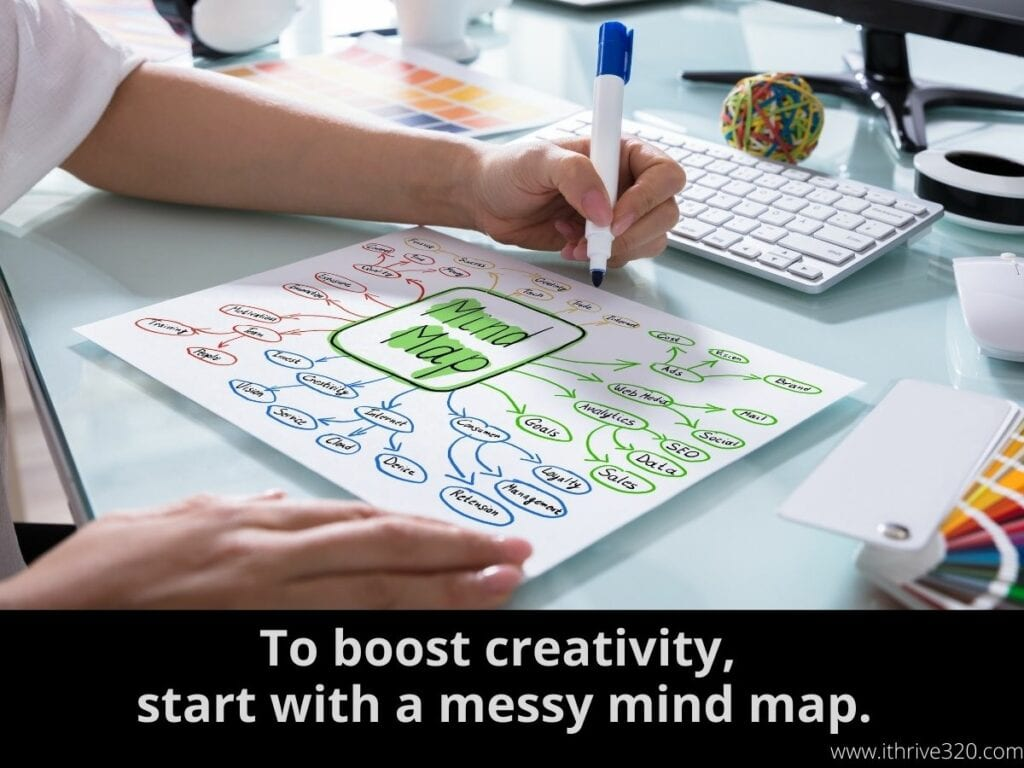 "An image of a mind map with the line ""To boost creativity, start with a messy mind map."""
